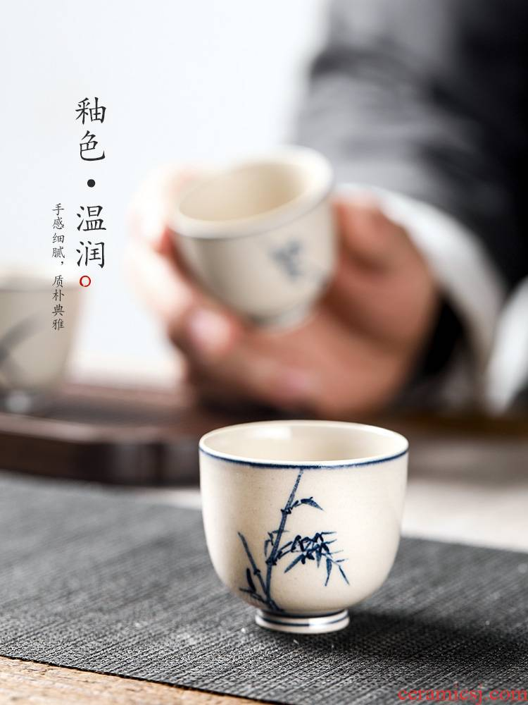 Kongfu master cup single cup blue noggin single plant ash glaze hand - made ceramic sample tea cup by patterns