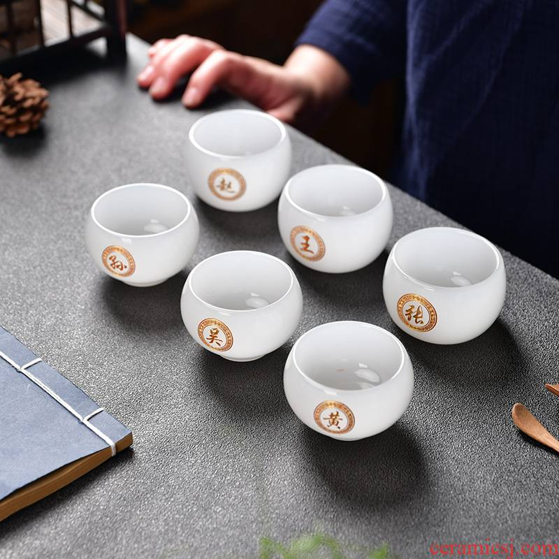 White porcelain jade porcelain teacup large sample tea cup more heat resistant glass master cup single CPU jade kung fu tea set