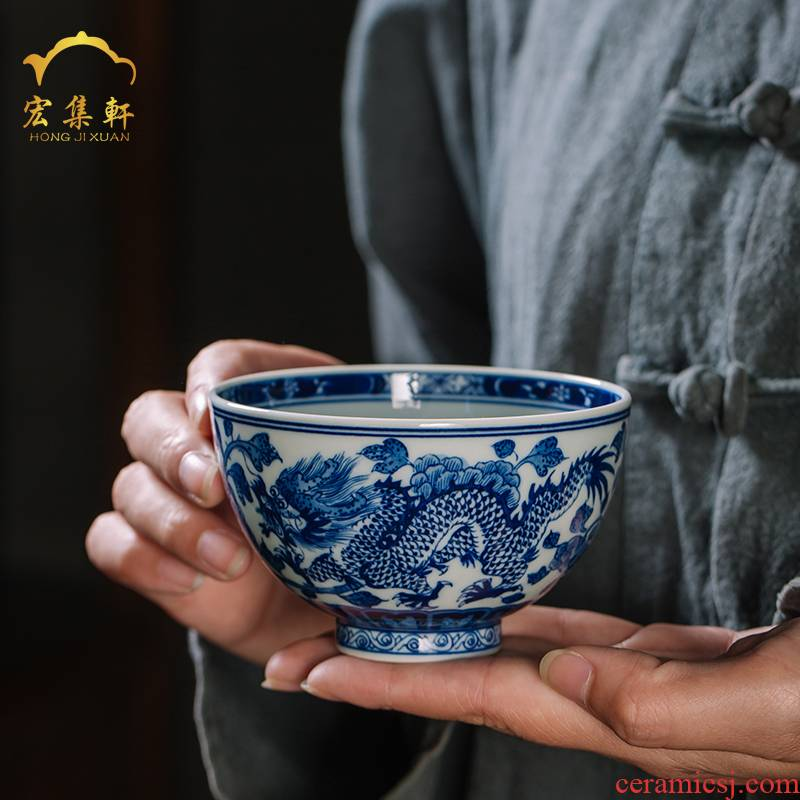Blue and white maintain longfeng cup jingdezhen ceramic cups all hand - made master cup single CPU kung fu tea sample tea cup
