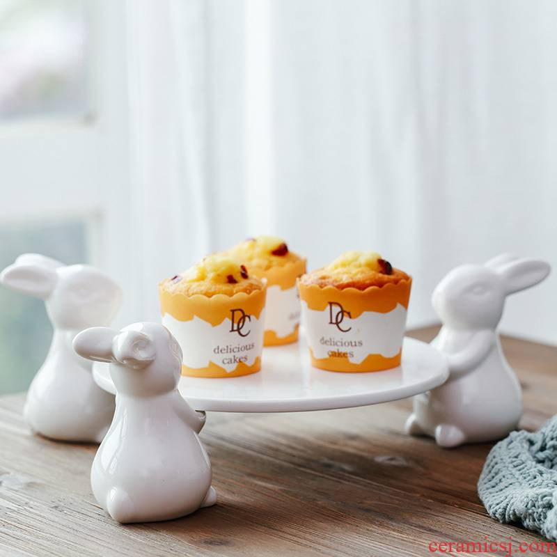 The kitchen export Italy, lovely rabbit dessert ceramic fruit bowl creative household afternoon tea heart pan cakes