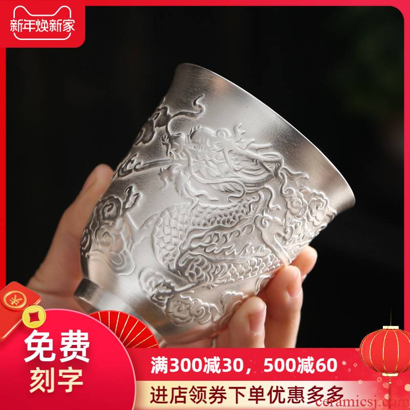 999 sterling silver cup high - grade gift boxes masters cup sample tea cup to send ceramic silver cup kung fu large capacity