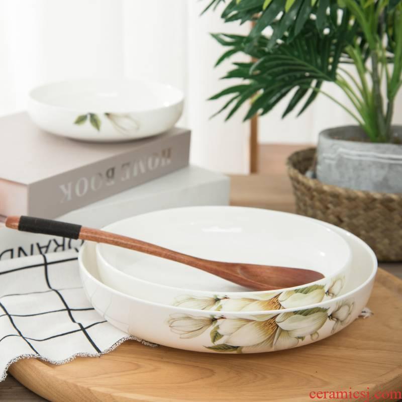 Jingdezhen ceramic plate suit ceramic creative household contracted dish dish dish deep dish soup plate fruit plates