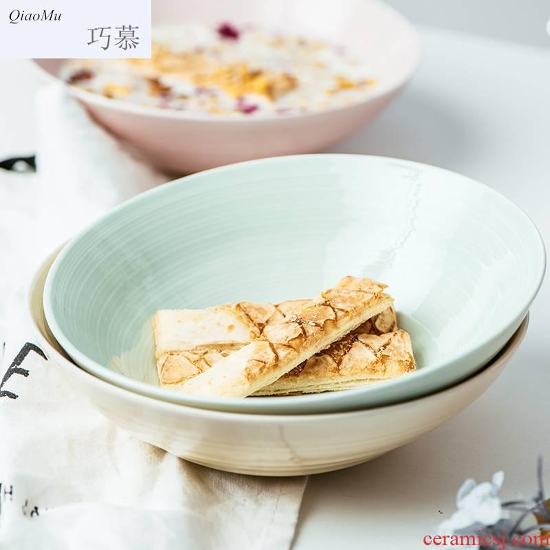 Qiam qiao mu ceramic creative household porringer fruit salad bowl noodles bowl, lovely tableware posey town