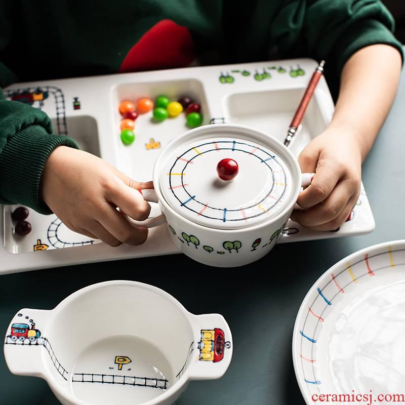Japanese small train large relief creative children lovely under glaze color porcelain tableware bowls salad bowl dessert bowls