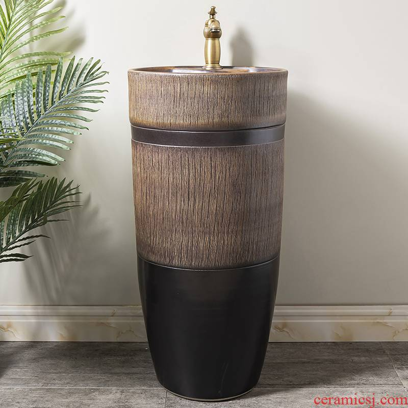 Ceramic column basin restoring ancient ways of household toilet lavatory basin sink balcony is suing floor one column 4