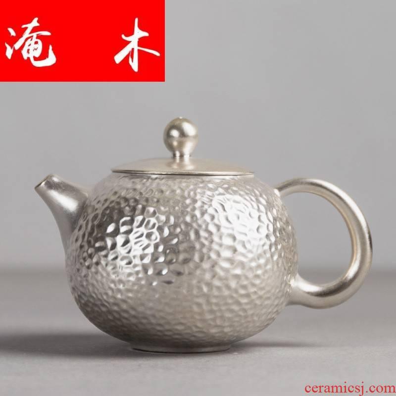 Submerged wood jingdezhen ceramics by hand little teapot jade teapot 925 sterling silver mud CiHu coppering. As silver kung fu tea tea