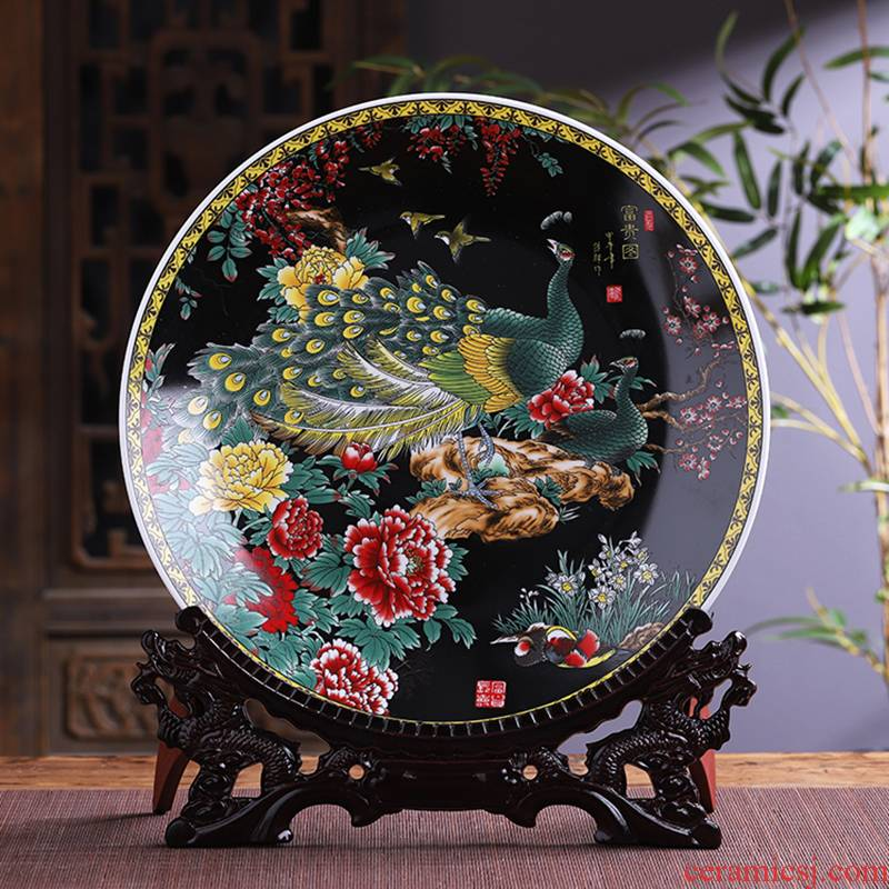 Large size 41 cm hang dish of jingdezhen ceramics decoration plate Chinese style household living room TV ark, furnishing articles of handicraft