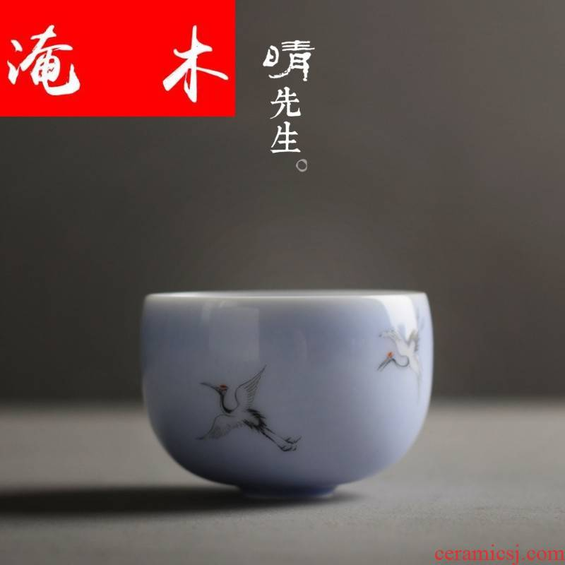 Submerged wood jingdezhen pure manual glaze on hand - made pastel cranes cup boutique owner cup thin foetus sample tea cup tea tea