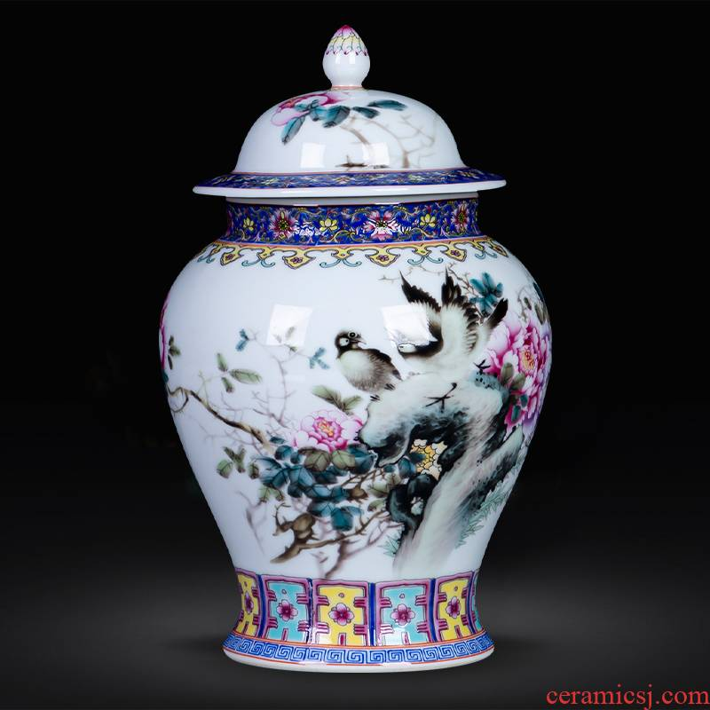 Jingdezhen ceramics powder enamel landscape small loose tea tea storage tanks with cover the jar sealed container