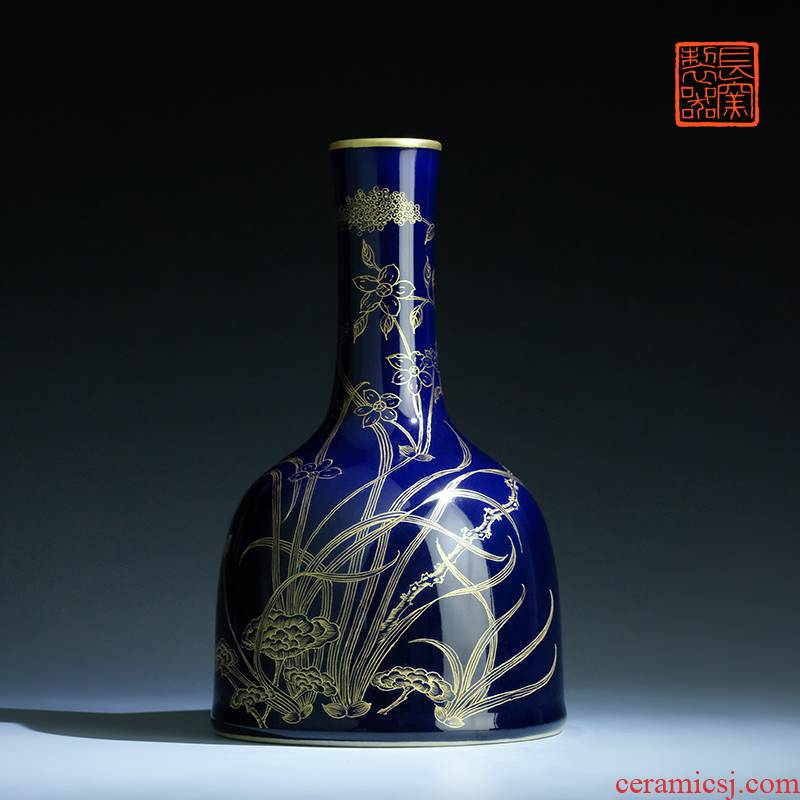Offered home - cooked ju long up is the blue see colour bell daily furnishing articles vase jingdezhen ceramic flower implement manually