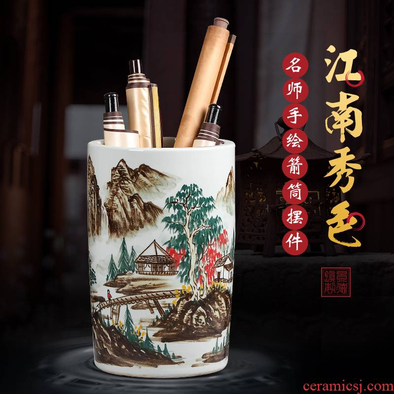 Four treasures quiver receive kakemono scrolls cylinder barrels of Chinese painting and calligraphy cylinder hand - made jingdezhen ceramic vases, furnishing articles