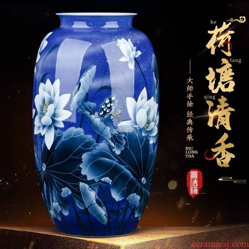 Jingdezhen ceramics masters hand - made furnishing articles Chinese flower arranging sitting room porch decoration large blue and white porcelain vase