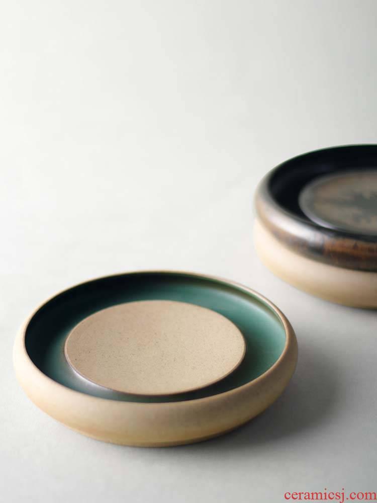 About Nine soil dry terms thick clay POTS adopt ceramic small circular mini dry ground plate tea Japanese kunfu tea saucer