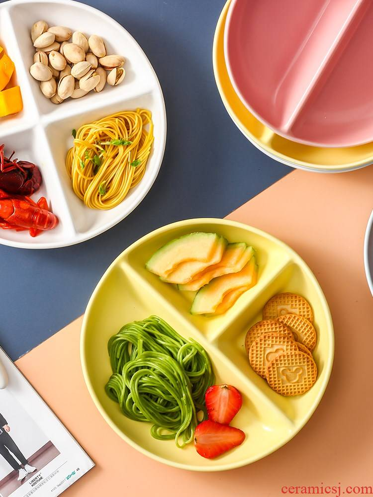 Household ceramics tableware points one dish dish food dining reduced fat separation plate frame plate children breakfast dishes