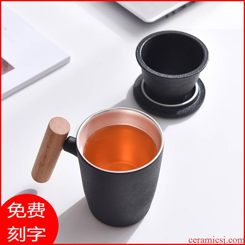 Coarse ceramic keller with cover 999 sterling silver cup silver cup glass office cup tea separate individual cup custom