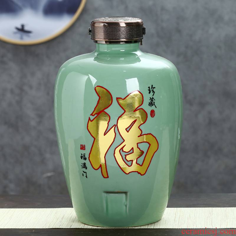 Jingdezhen ceramic jar home wine pot empty wine bottle with tap mercifully jars 8 jin 20 jins 30 jins