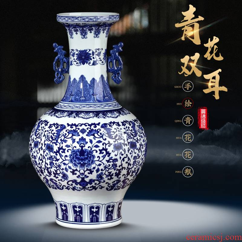 Jingdezhen ceramics ears to the ground of blue and white porcelain vase restoring ancient ways furnishing articles of new Chinese style household act the role ofing is tasted a large living room
