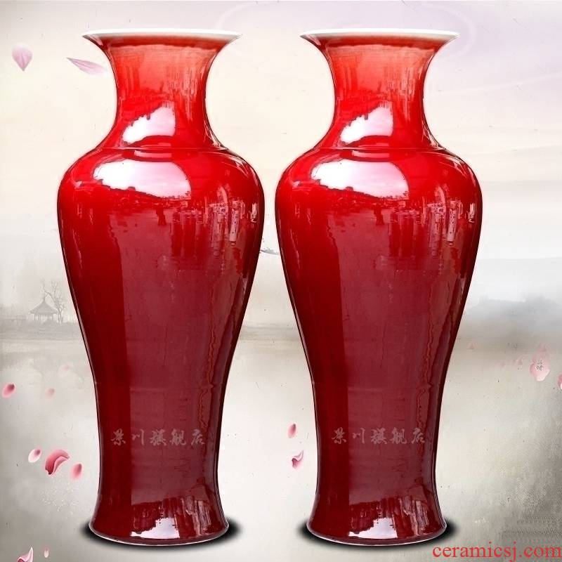 Jingdezhen China red ceramics dried flowers flower arrangement ruby red big vase household hotels sitting room be born modern large furnishing articles