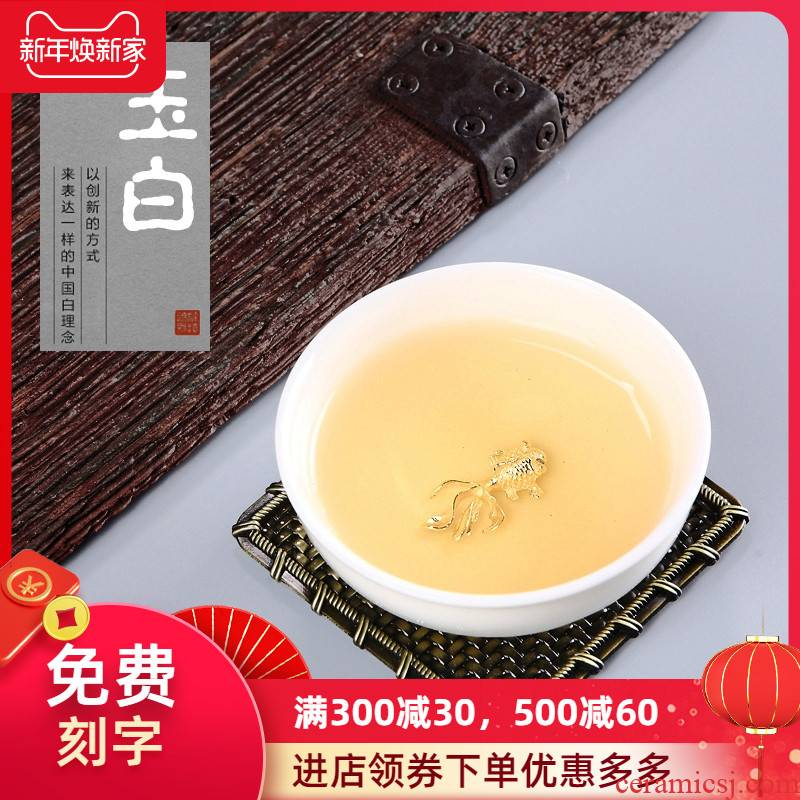 Jade craft checking kung fu ceramic Mosaic whitebait tea cups silver lotus sample tea cup, director of the pu 'er personal single CPU