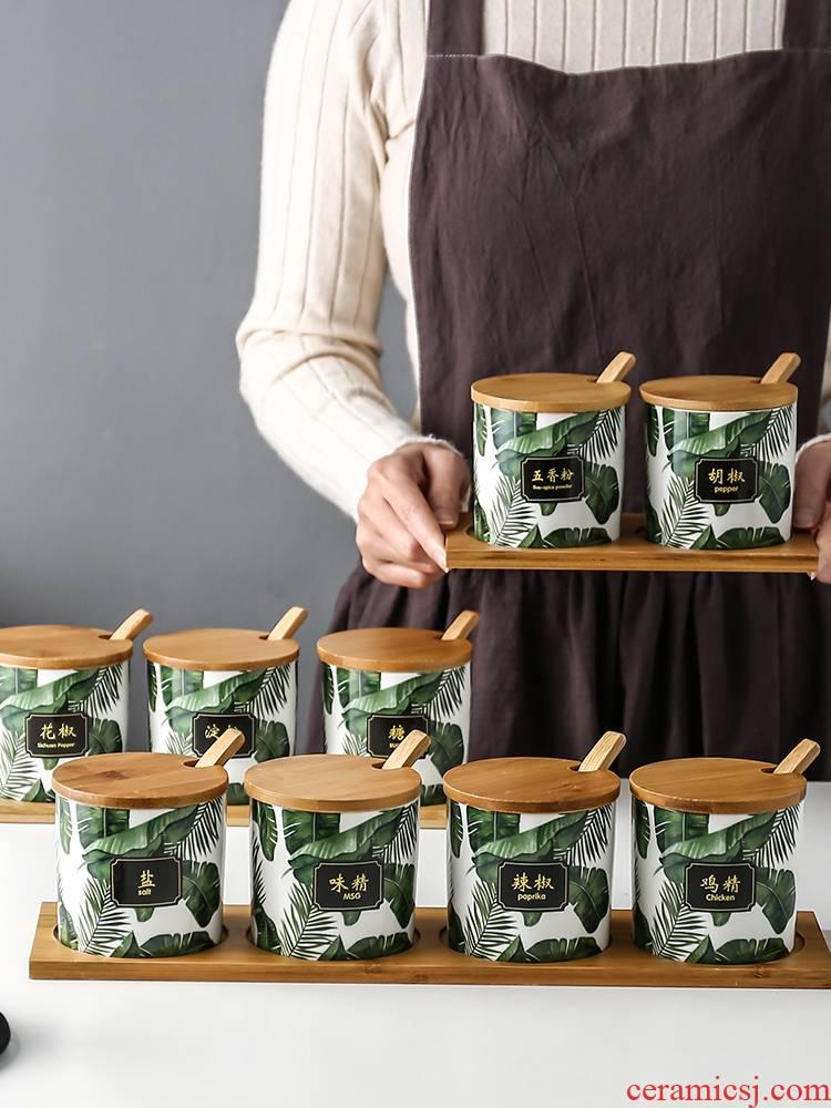 Nordic ceramic kitchen condiment box to receive box seasoning box household salt monosodium glutamate sugar pot combination in seasoning jar of suit