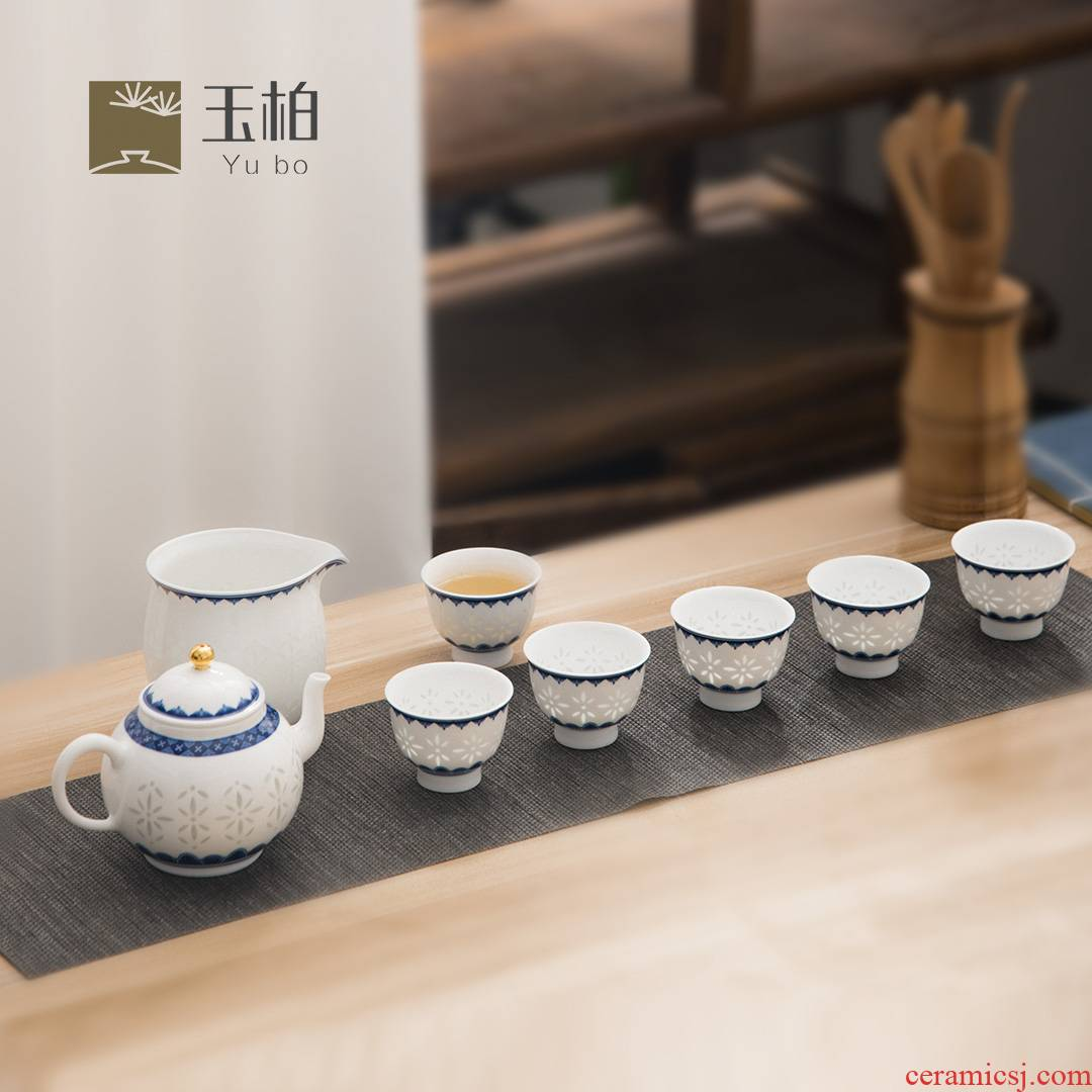 Jade BaiLingLong jingdezhen blue and white tea sets eight woolly white porcelain gifts home smart home and industry will flourish grain of rice