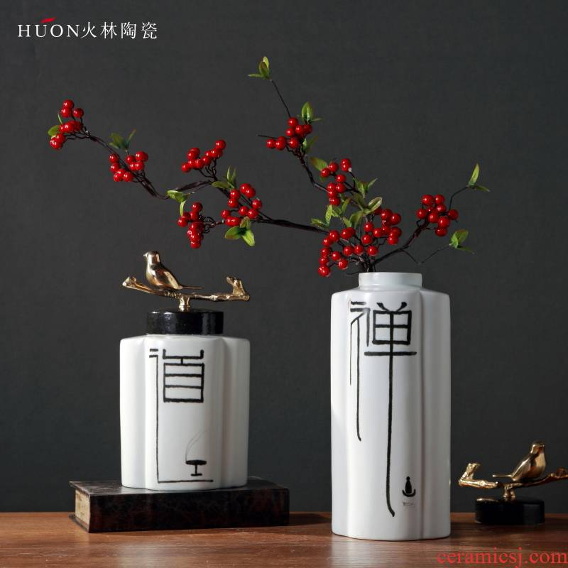 New Chinese style zen ceramic vase household soft adornment example room adornment is placed in the sitting room porch modern Chinese style