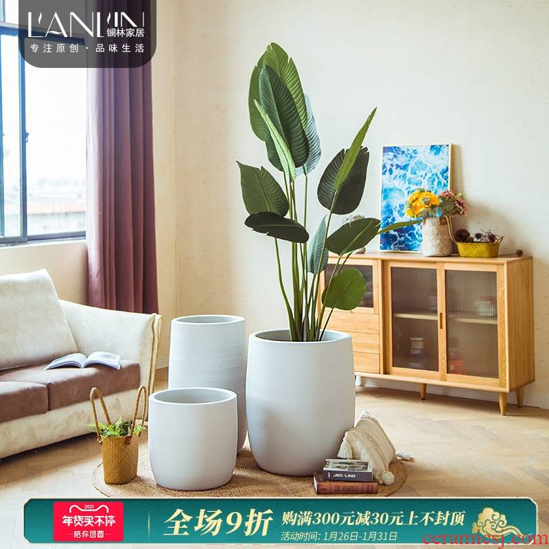 Villa landscape garden flower arranging large decorative furnishing articles Nordic I and contracted sitting room of the white ceramic floor flowerpot