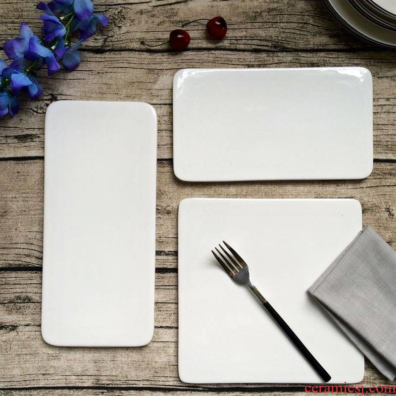 Creative dinner plate rectangular flat ceramic plate sushi plates plate west cake plate of Japanese tableware pure white