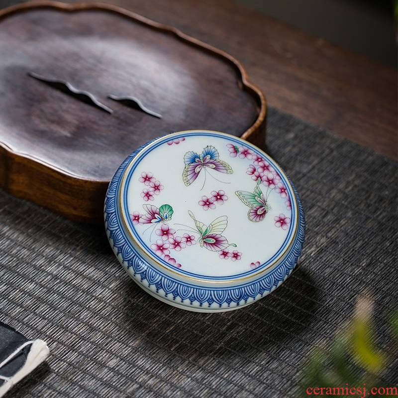 The Owl up jingdezhen ceramics by hand kung fu tea accessories large blue and white colored enamel cover lid doesn