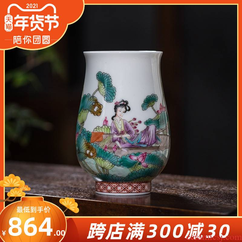 The Owl up jingdezhen ceramics by hand hand tea sample tea cup fragrance - smelling cup picking lotus lotus pond was kung fu tea cup