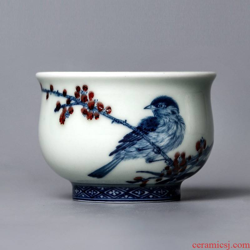 Lin Yuehong jingdezhen blue and white youligong hand - made master cup single cup pure manual kung fu tea cups ceramic sample tea cup