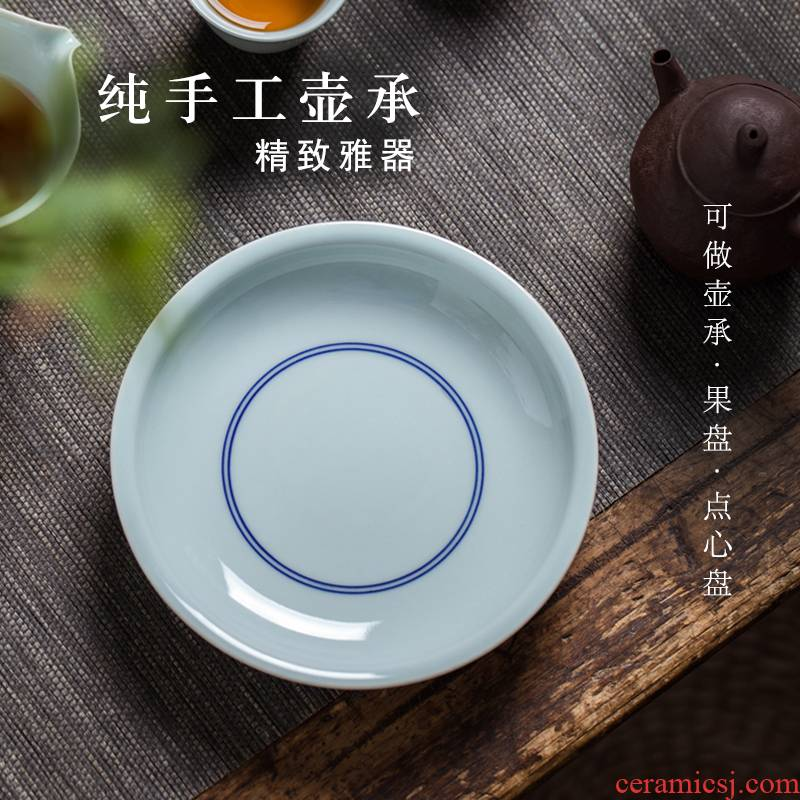 Checking out ceramic pot bearing antique green dry film mercifully machine compote snack plate of a pot pad water tea bearing restoring ancient ways