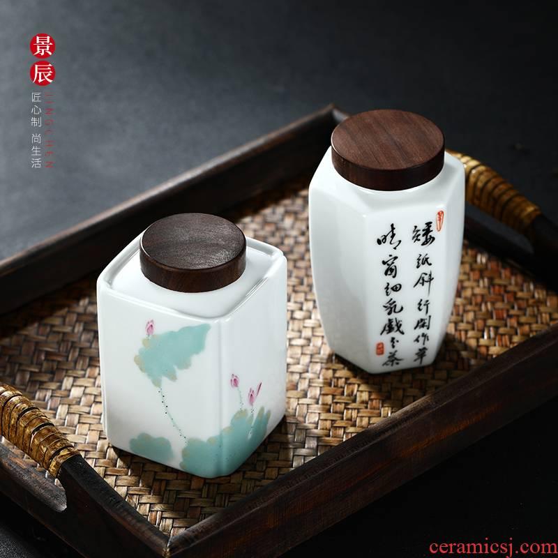 Jingdezhen ceramic square creative hand - made pastel kung fu pu 'er tea pot seal guanyin tea cake store tea urn