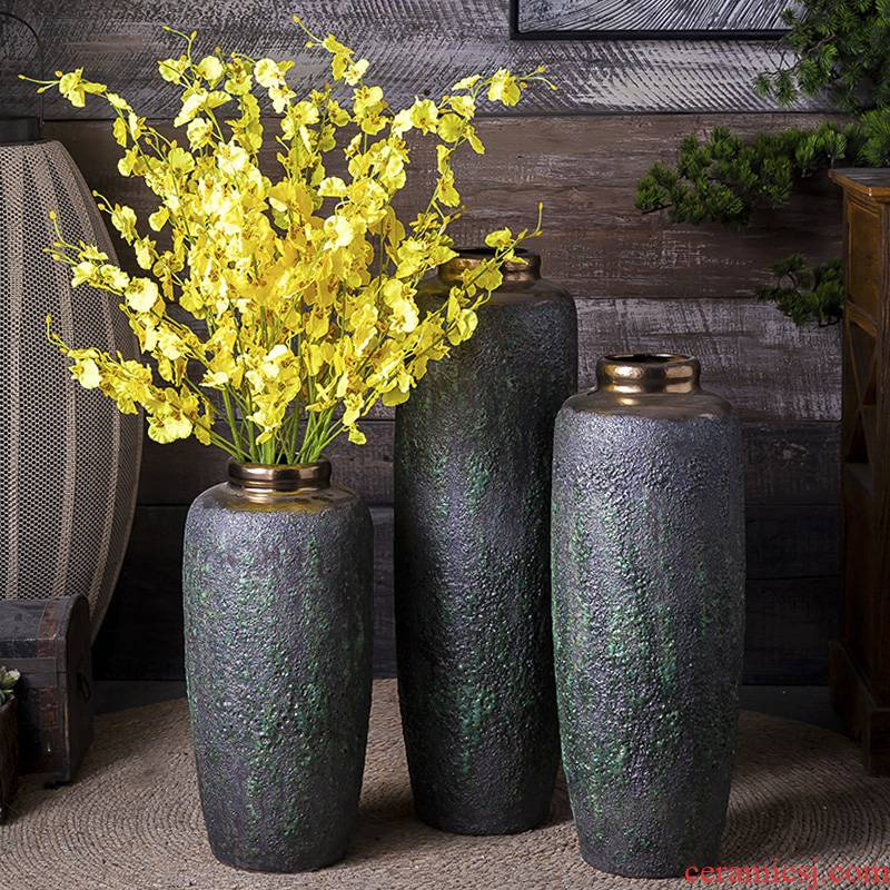 Jingdezhen ceramic vase landing dried flowers flower arrangement sitting room adornment is placed to restore ancient ways do old literary checking pottery basin