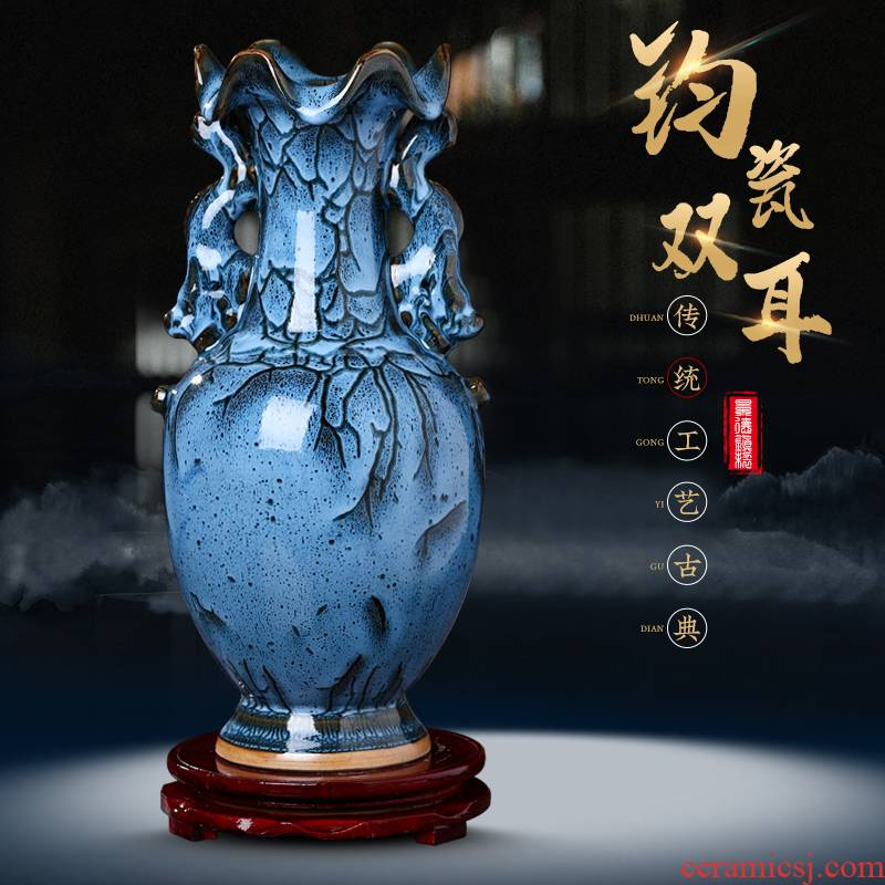 Archaize jun porcelain of jingdezhen ceramics ears vase furnishing articles of modern Chinese style household living room TV cabinet decoration