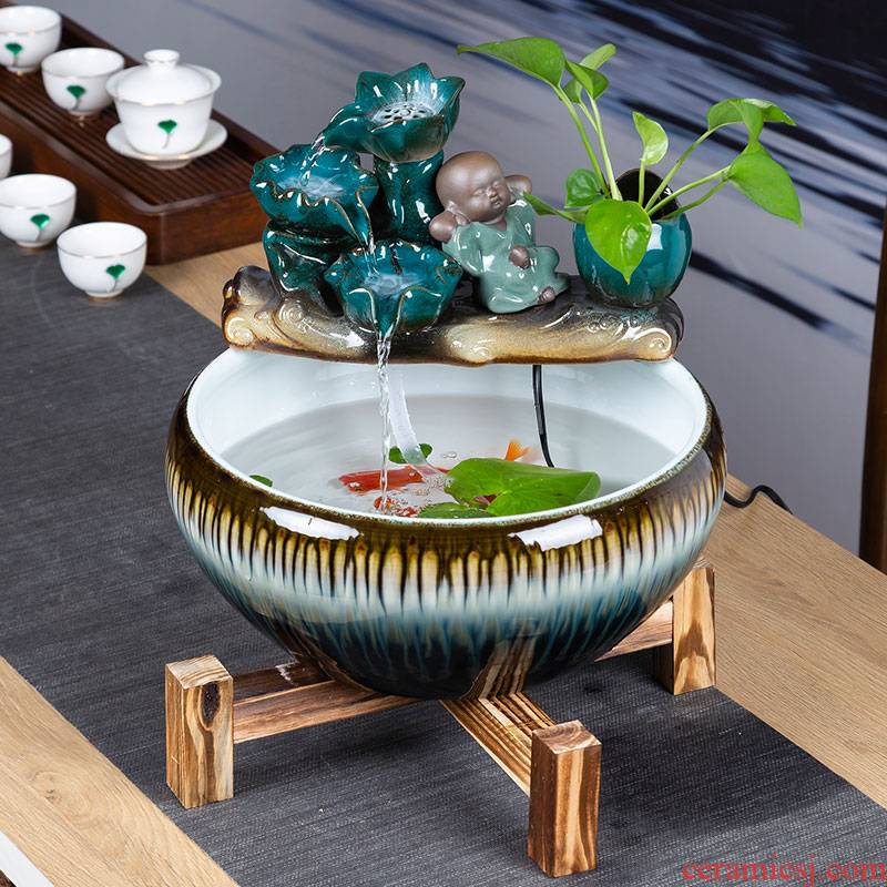 Ceramic aquarium small home sitting room aquarium desktop furnishing articles of Chinese style water loop filter goldfish bowl fish bowl