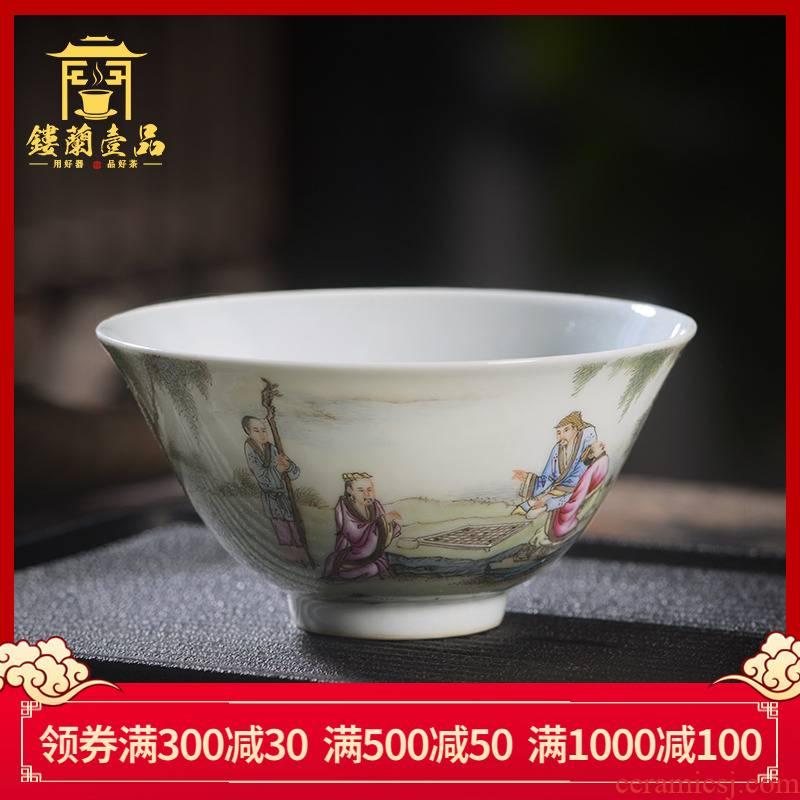 Jingdezhen ceramic all hand - made pastel literati, the master cup from the list of individual large tea cup