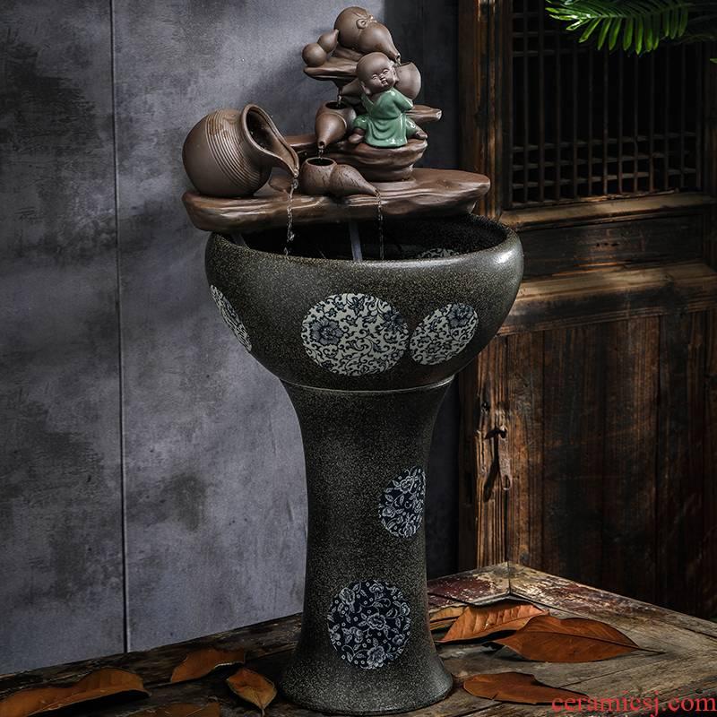 Jingdezhen ceramic aquarium filter pillar landing circular large home sitting room a goldfish bowl landscape fish bowl
