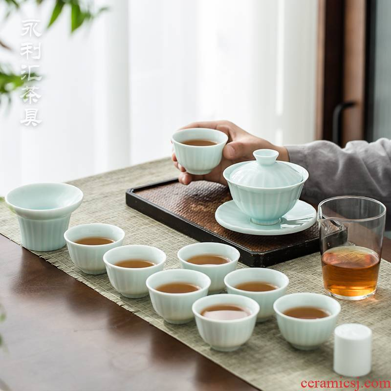 Wynn hui ceramic tea sets suit household kung fu tea tureen tea cups white porcelain small set of office