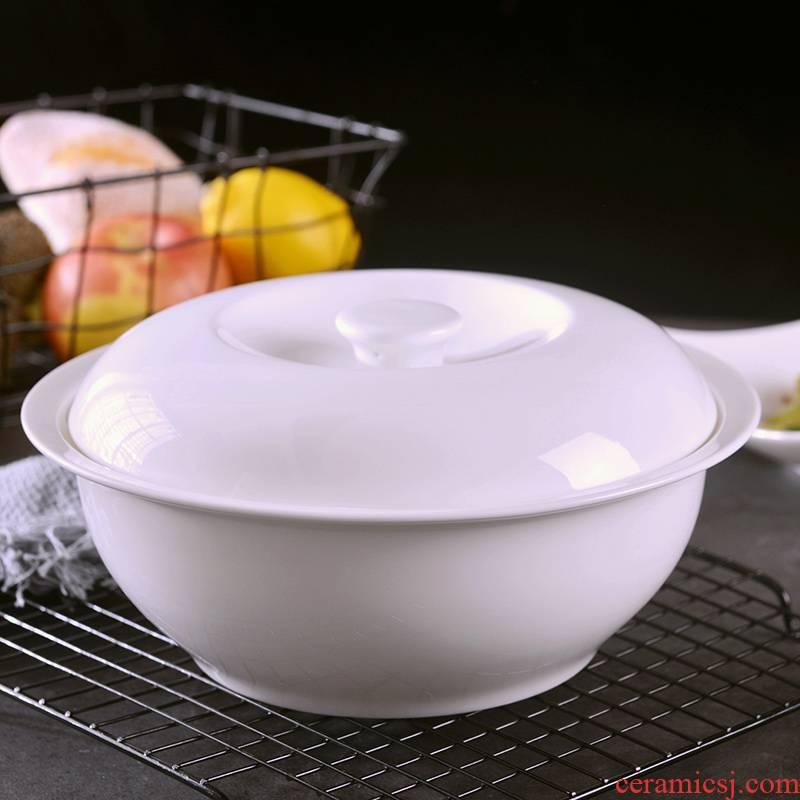 Jingdezhen household pure white large soup bowl with cover large creative ipads porcelain high temperature resistant soup pot Chinese ceramics porcelain basin