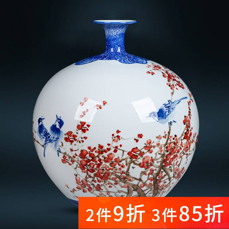 Jingdezhen ceramics hand - made pomegranate flower vase large bottles of the sitting room of Chinese style household decorations study furnishing articles