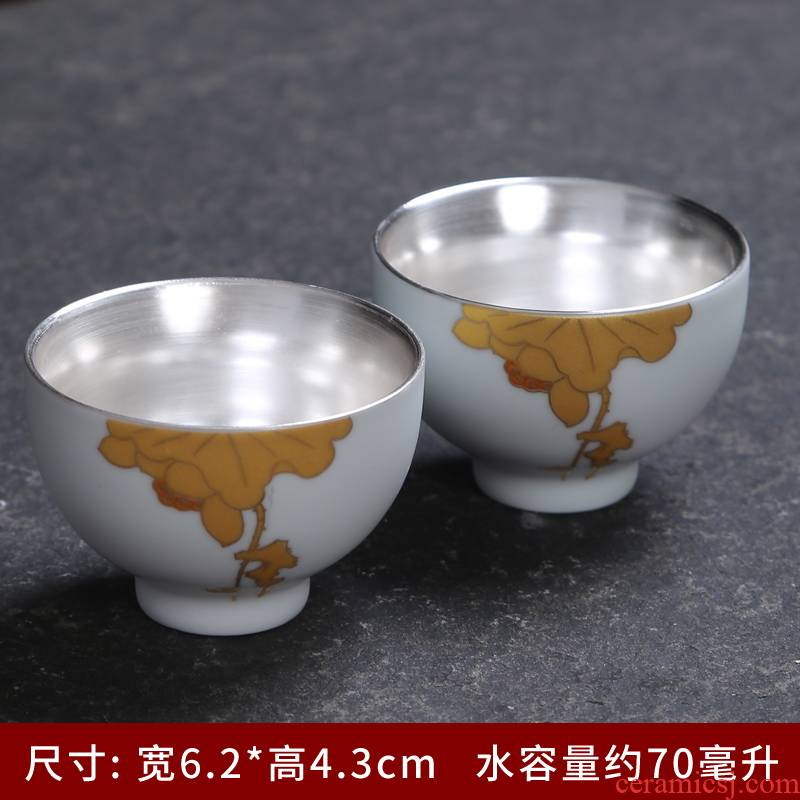 Tasted silver gilding kung fu master cup single CPU ceramic individual cup white porcelain cups tea tea set, the bowl sample tea cup of tea