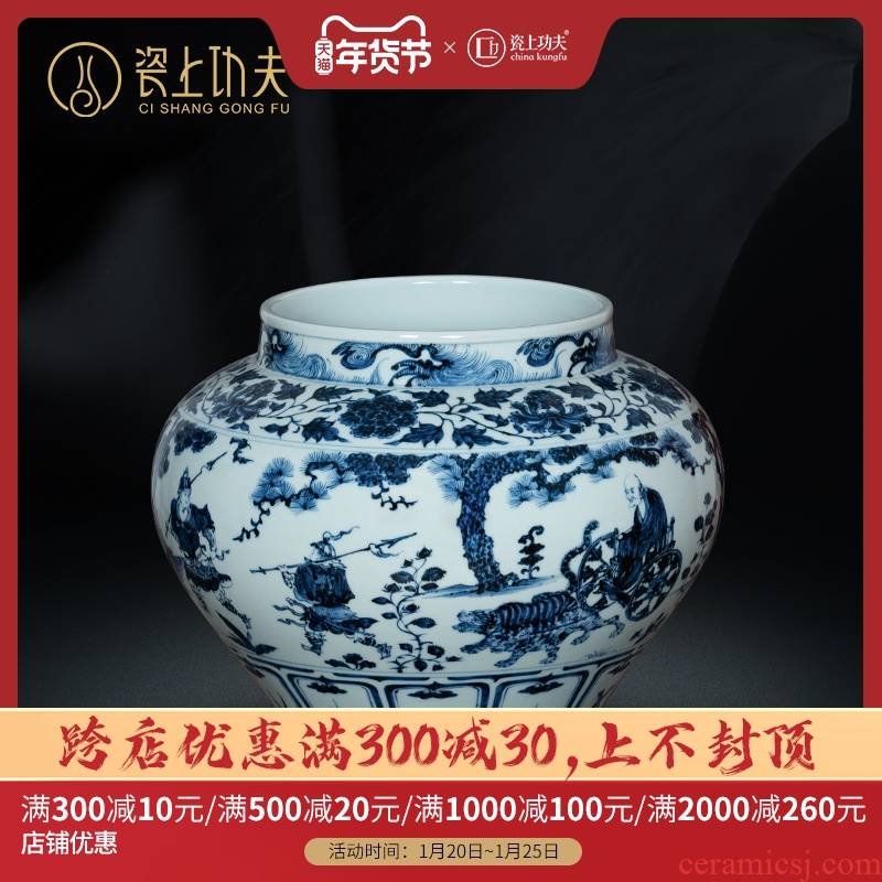 Jingdezhen imitation of yuan blue and white guiguzi down caddy fixings large household boutique high - grade hand - made ceramic storage tanks