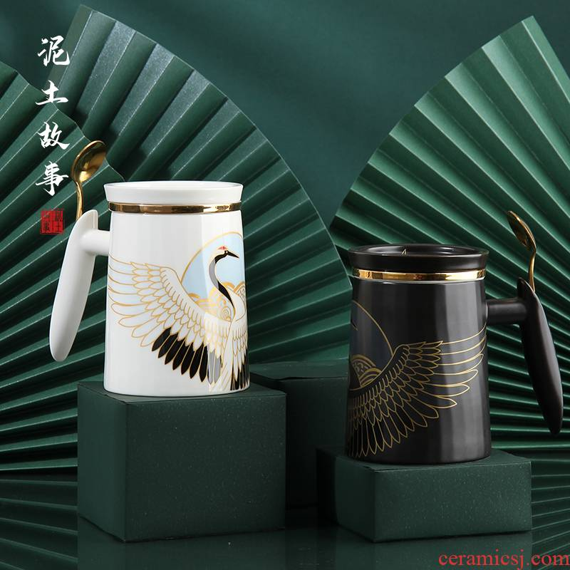 Japanese ceramic keller tea tea cup wood seperate large glass with cover the office meeting gift boxes