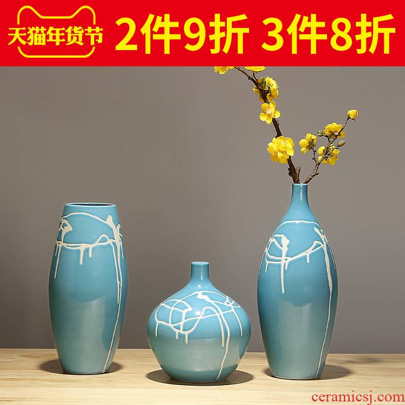 I and contracted ceramic vases, TV ark, household room decorates sitting room ark, creative furnishing articles a three - piece suit