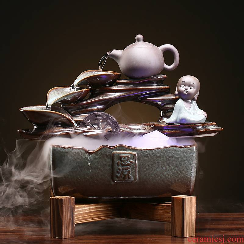 Chinese zen humidifying furnishing articles ceramic aquarium water sitting room open desktop decoration housewarming gift shop
