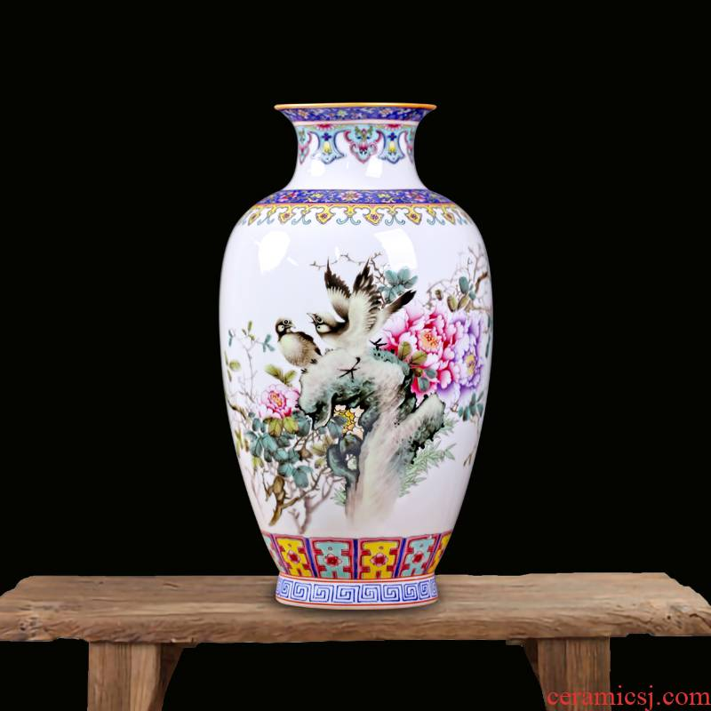 Jingdezhen ceramics checking painting of flowers and flower vase figure mesa sitting room rich ancient frame study decorative furnishing articles