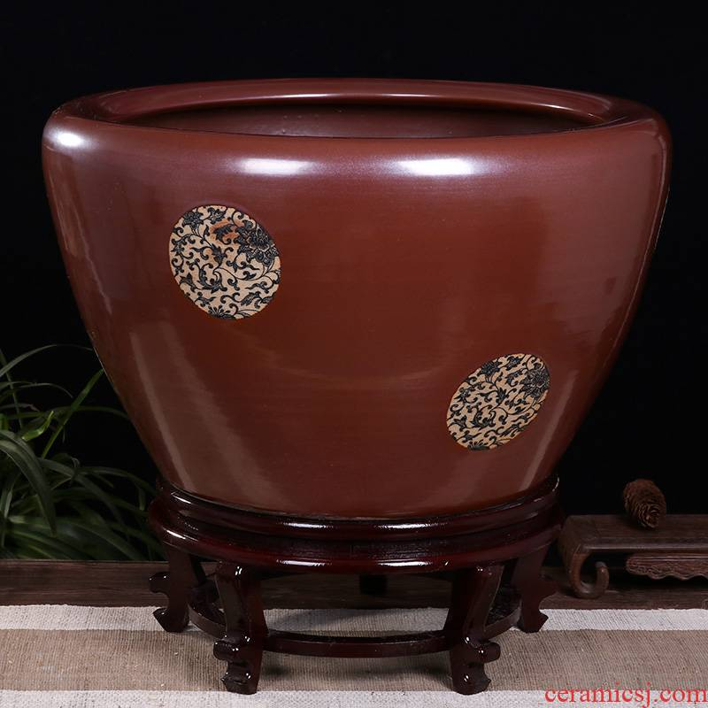 Ceramic goldfish bowl sitting room small koi fish tank cylinder tortoise raise turtles special cylinder household turtle basin to breed fish