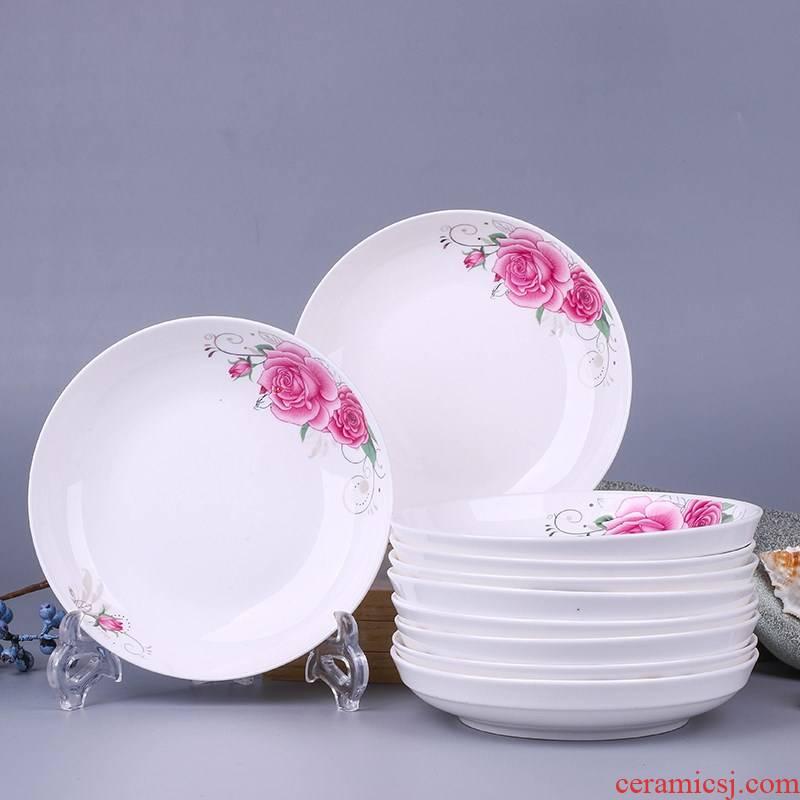 10 jingdezhen ceramic plate dishes FanPan creative dish dish dish suit household microwave tableware
