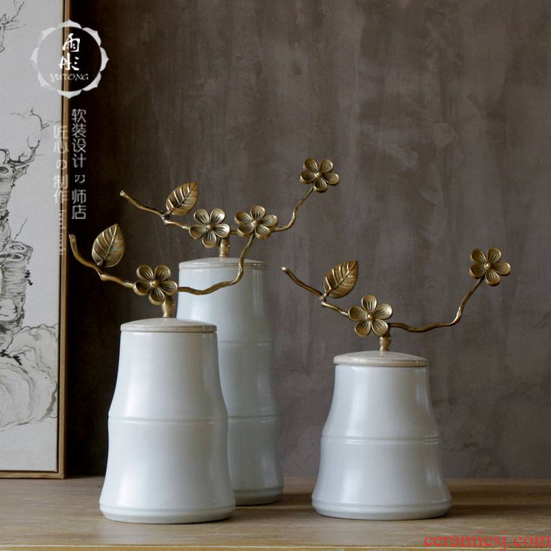 New Chinese style ceramic flower simulation flower art furnishing articles creative TV ark, flower arranging, bamboo green glaze bottled act the role ofing is tasted